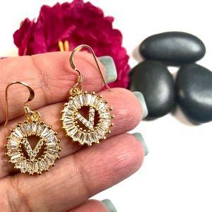 Initial V Earrings, Letter V Personalized V, Boho
